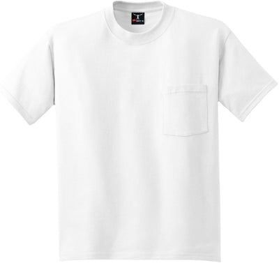 Hanes-Beefy T-Shirt with Pocket-S-White-Thread Logic
