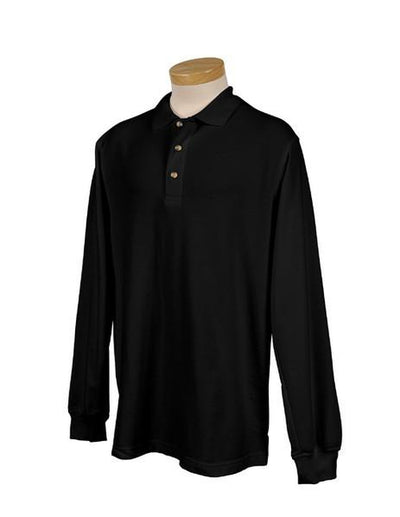 Tri Mountain-Long Sleeve Pique Polo Shirt-S-Black-Thread Logic no-logo
