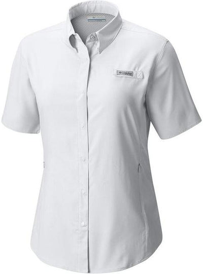 Columbia Ladies Tamiami II Short-Sleeve Shirt-XS-White-Thread Logic logo-right