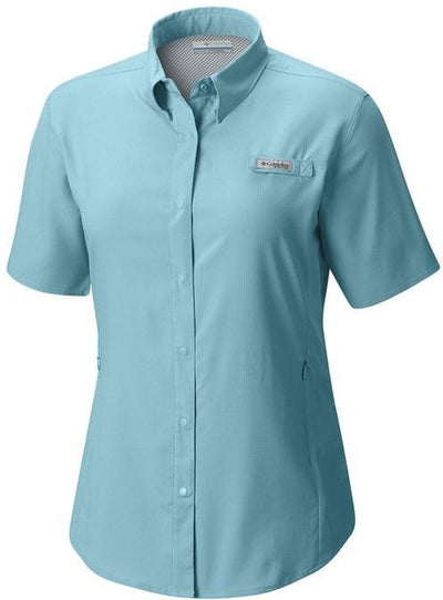 Columbia Ladies Tamiami II Short-Sleeve Shirt-XS-Clear Blue-Thread Logic logo-right