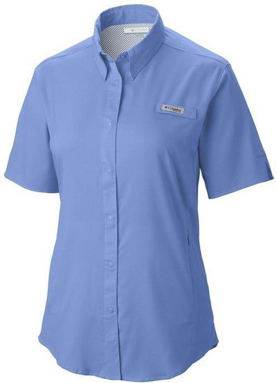 Columbia Ladies Tamiami II Short-Sleeve Shirt-XS-Whitecap Blue-Thread Logic logo-right