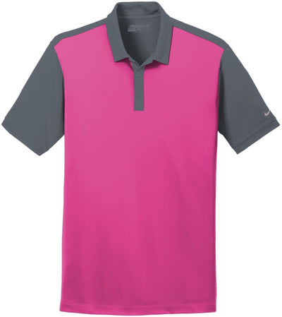 Vivid Pink/Dark Grey NIKE Golf Dri-Fit Colorblock Icon Modern Fit Polo
