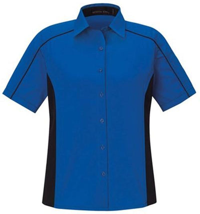 North End-Ladies Color Block Twill Shirt-XS-True Royal/Black-Thread Logic