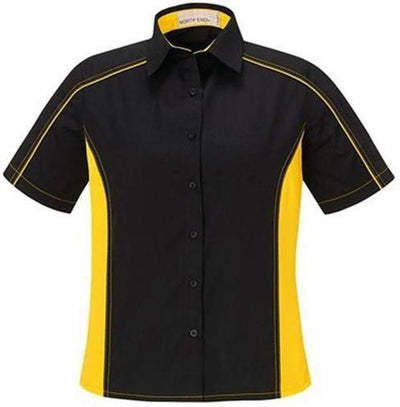 North End-Ladies Color Block Twill Shirt-XS-Black/Campus Gold-Thread Logic