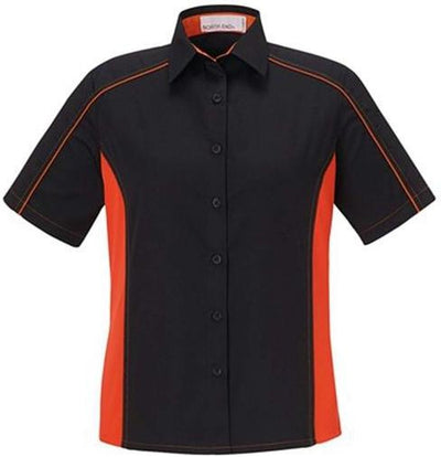 North End-Ladies Color Block Twill Shirt-XS-Black/Orange-Thread Logic
