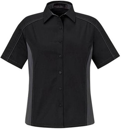 North End-Ladies Color Block Twill Shirt-XS-Black/Carbon-Thread Logic