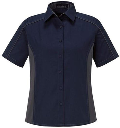 North End-Ladies Color Block Twill Shirt-XS-Classic Navy/Carbon-Thread Logic