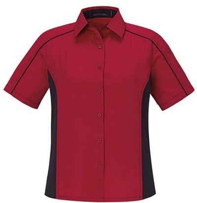 North End-Ladies Color Block Twill Shirt-XS-Classic Red/Black-Thread Logic