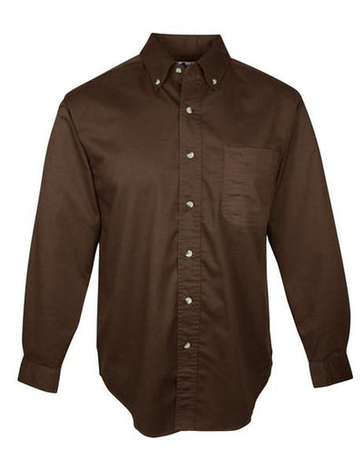 Tri Mountain-Long Sleeve Twill with Teflon-S-Brown-Thread Logic