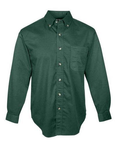 Tri Mountain-Long Sleeve Twill with Teflon-S-Forest Green-Thread Logic
