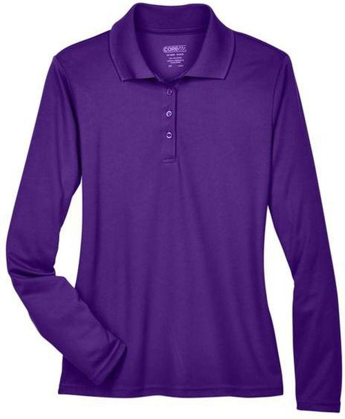 CORE365-Ladies Pinnacle Performance Long-Sleeve Pique Polo-XS-Campus Purple-Thread Logic