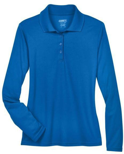 CORE365-Ladies Pinnacle Performance Long-Sleeve Pique Polo-XS-True Royal-Thread Logic