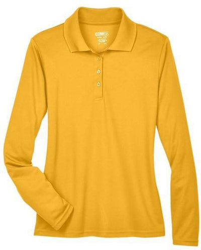 CORE365-Ladies Pinnacle Performance Long-Sleeve Pique Polo-XS-Campus Gold-Thread Logic