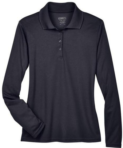 CORE365-Ladies Pinnacle Performance Long-Sleeve Pique Polo-XS-Carbon-Thread Logic