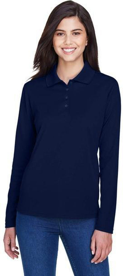 CORE365-Ladies Pinnacle Performance Long-Sleeve Pique Polo-Thread Logic no-logo