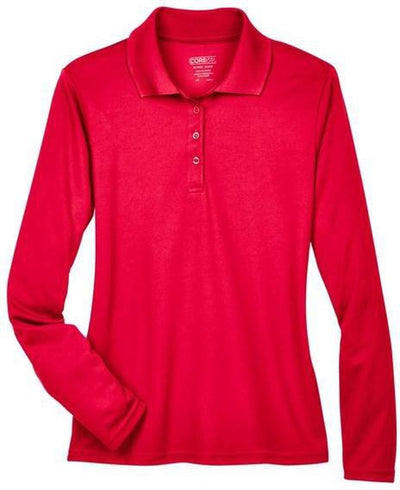 CORE365-Ladies Pinnacle Performance Long-Sleeve Pique Polo-XS-Classic Red-Thread Logic
