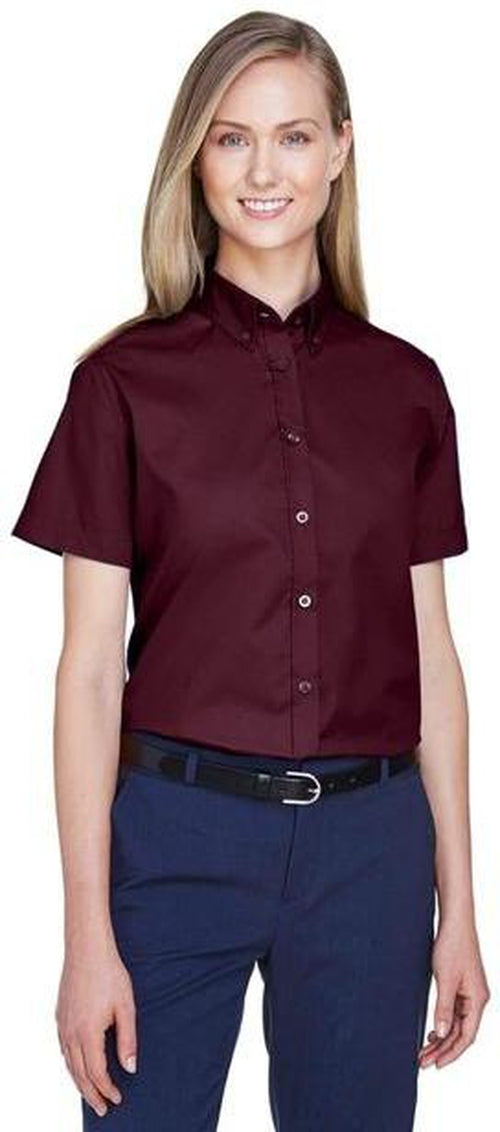CORE365-Ladies Optimum Short-Sleeve Twill Shirt-Thread Logic