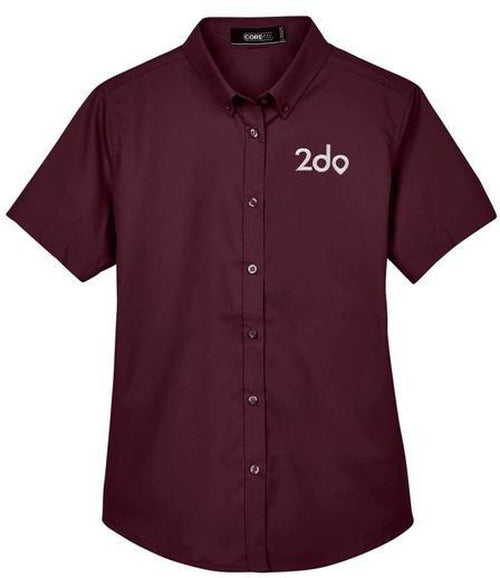 CORE365-Ladies Optimum Short-Sleeve Twill Shirt-Thread Logic no-logo