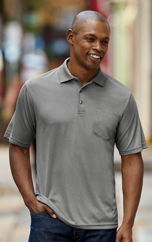 UltraClub-Cool & Dry Mesh Pique Polo with Pocket-S-Silver-Thread Logic no-logo