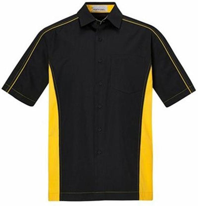 North End-Tall Color Block Twill Dress Shirt-LT-Black/Campus Gold-Thread Logic
