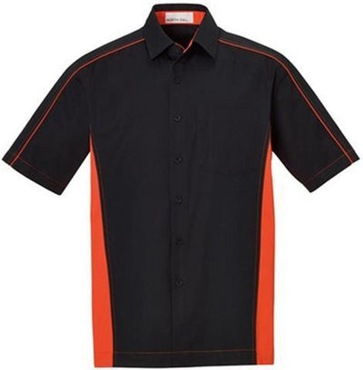 North End-Color Block Twill Dress Shirt-S-Black/Orange-Thread Logic