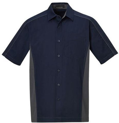 North End-Tall Color Block Twill Dress Shirt-LT-Classic Navy/Carbon-Thread Logic