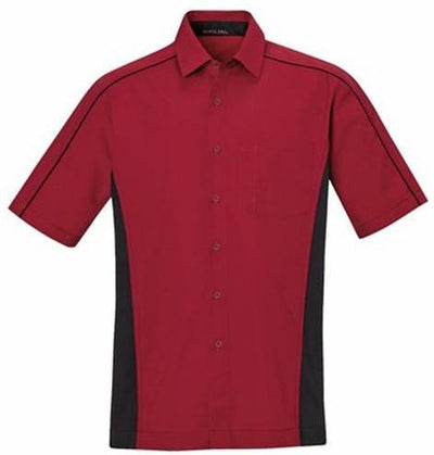 North End-Color Block Twill Dress Shirt-S-Classic Red/Black-Thread Logic