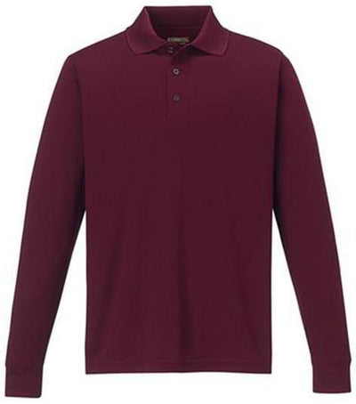CORE365-Pinnacle Performance Long-Sleeve Pique Polo-S-Burgundy-Thread Logic