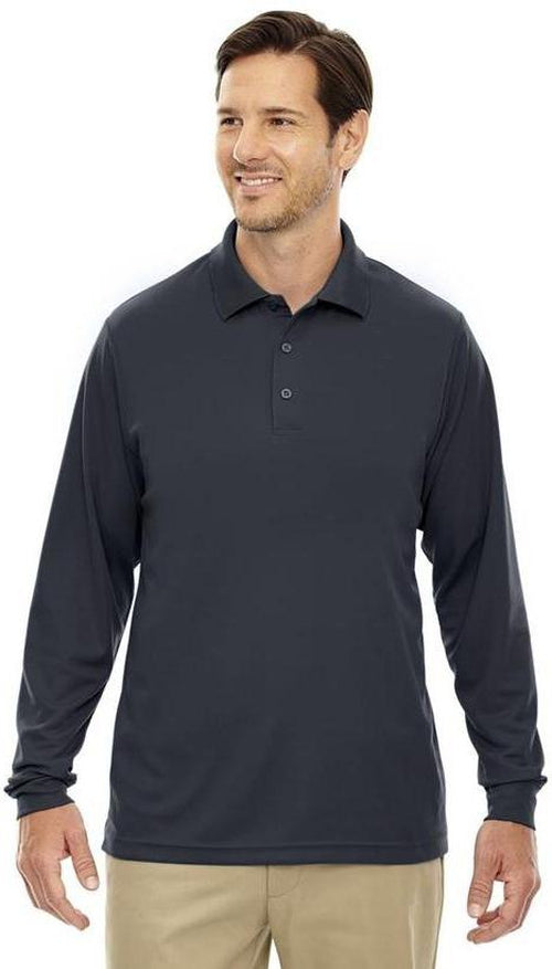 CORE365-Pinnacle Performance Long-Sleeve Pique Polo-S-Carbon-Thread Logic