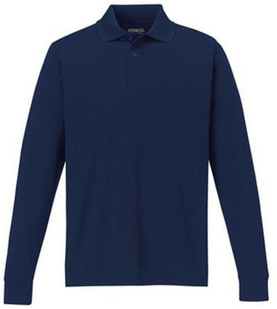 CORE365-Pinnacle Performance Long-Sleeve Pique Polo-S-Classic Navy-Thread Logic