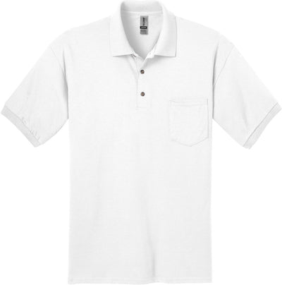 Gildan-DryBlend Jersey Polo with Pocket-S-White-Thread Logic