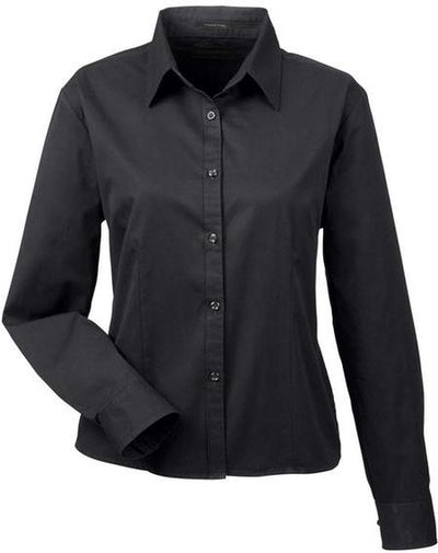 UltraClub-Ladies Whisper Twill-XS-Black-Thread Logic