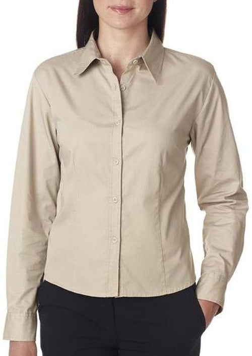 UltraClub-Ladies Whisper Twill-XS-Stone-Thread Logic
