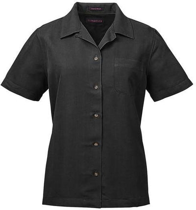 UltraClub-Ladies Cabana Breeze Camp Shirt-XS-Black-Thread Logic