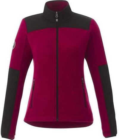 Roots73 Ladies Briggspoint Microfleece Jacket-S-Deep Red/Black-Thread Logic