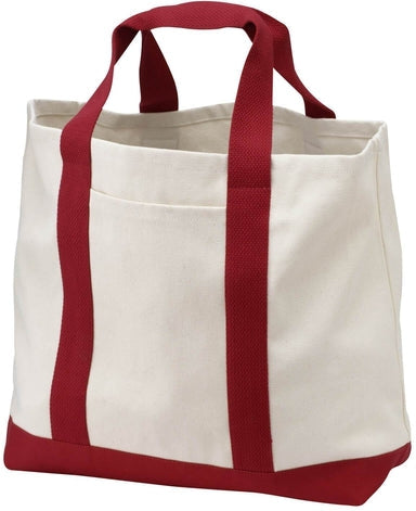 Port Authority-Two Tone Shopping Tote-Natural/Red-Thread Logic