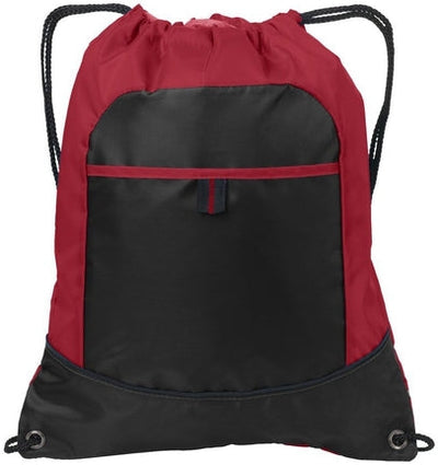 Port Authority-Pocket Cinch Pack-True Red/Black-Thread Logic
