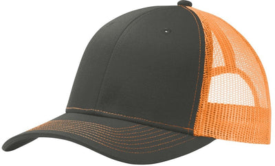 Port Authority-Snapback Trucker Cap-Grey Steel/Neon Orange-Thread Logic