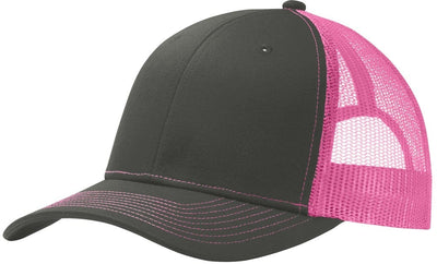 Port Authority-Snapback Trucker Cap-Grey Steel/Neon Pink-Thread Logic