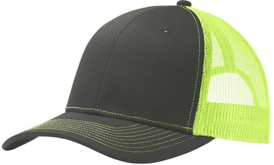 Port Authority-Snapback Trucker Cap-Grey Steel/Neon Yellow-Thread Logic