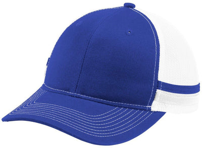 Port Authority-Two-Stripe Snapback Trucker Cap-Patriot Blue/Patriot Blue/White-Thread Logic