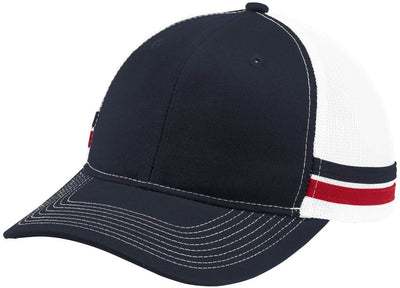 Port Authority-Two-Stripe Snapback Trucker Cap-Rich Navy/Flame Red/White-Thread Logic
