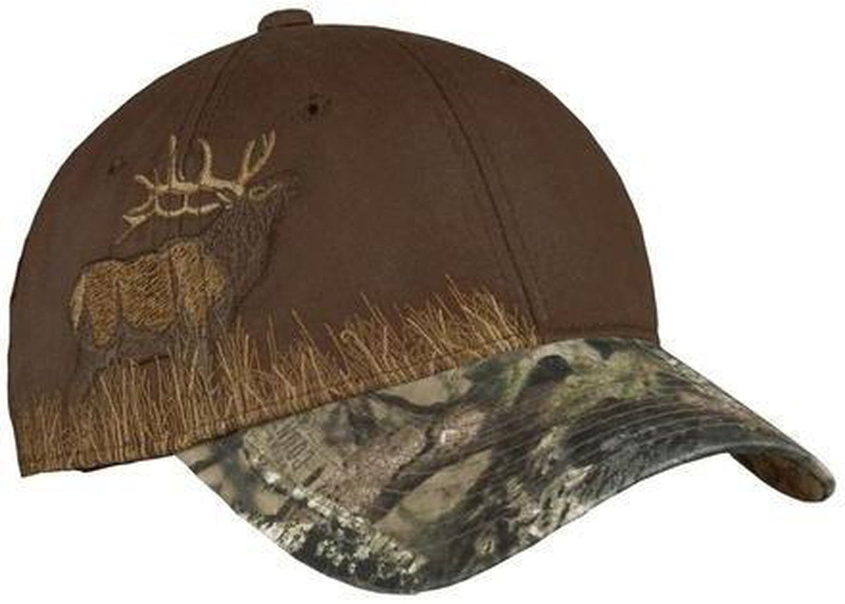 Port Authority-Embroidered Camouflage Cap-Mossy Oak-Elk-Thread Logic