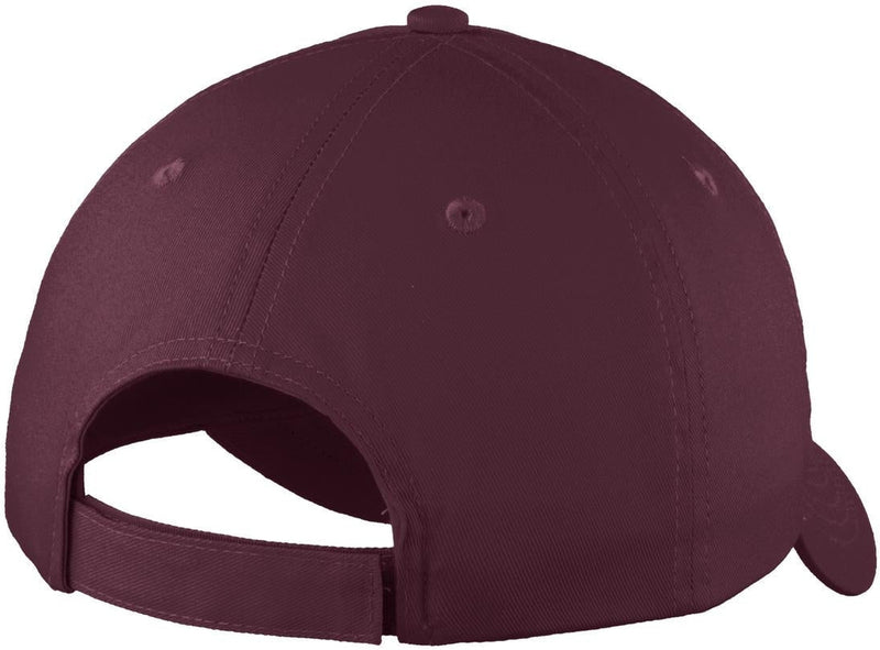Port Authority-Six-Panel Unstructured Twill Cap-Maroon-Thread Logic