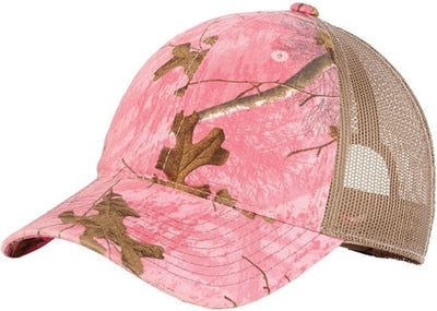 Port Authority-Unstructured Camouflage Mesh Back Cap-Realtree Xtra Pink/Tan-Thread Logic