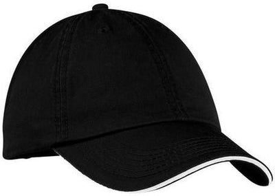 Port & Company-Washed Twill Sandwich Bill Cap-Black/White-Thread Logic