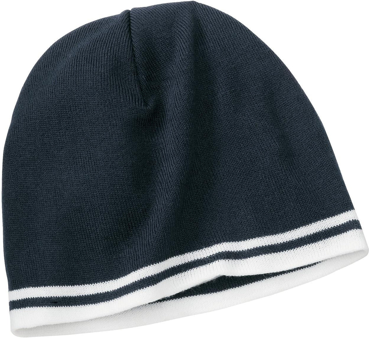 Port & Company-Fine Knit Skull Cap with Stripes-Navy/White-Thread Logic