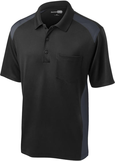 Cornerstone-Snag-Proof Colorblock Pocket Polo-S-Black/Charcoal-Thread Logic
