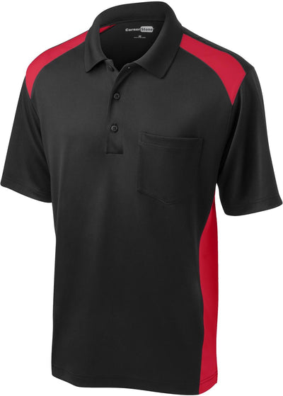 Cornerstone-Snag-Proof Colorblock Pocket Polo-S-Black/Red-Thread Logic