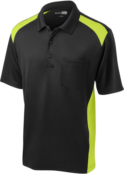 Cornerstone-Snag-Proof Colorblock Pocket Polo-S-Black/Shock Green-Thread Logic
